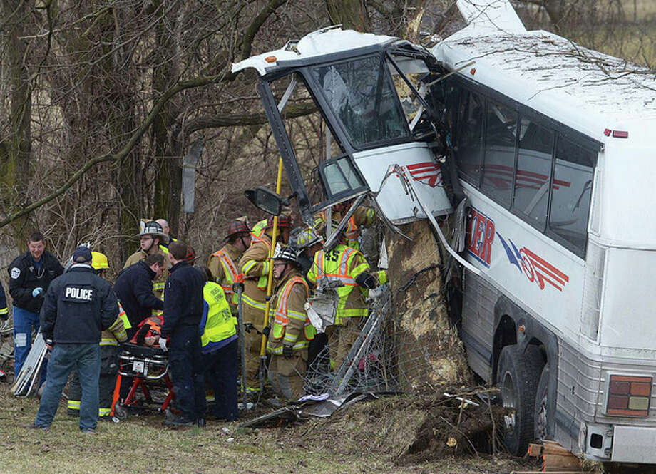 Emergency and rescue crews respond to the scene of a tour bus crash on the Pennsylvania Turnpike on Saturday, March 16, 2013 near Carlisle, Pa. Authorities say the tour bus crashed on the freeway at mile marker 227 in central Pennsylvania, and serious injuries have been reported. Megan Silverstram of the Cumberland County public safety department says the crash in the eastbound lanes of the Pennsylvania Turnpike was reported just before 9 a.m. Saturday. She says there are reports of multiple injuries, including that some are serious. (AP Photo/The Sentinel, Jason Malmont ) MANDATORY CREDIT / The Sentinel