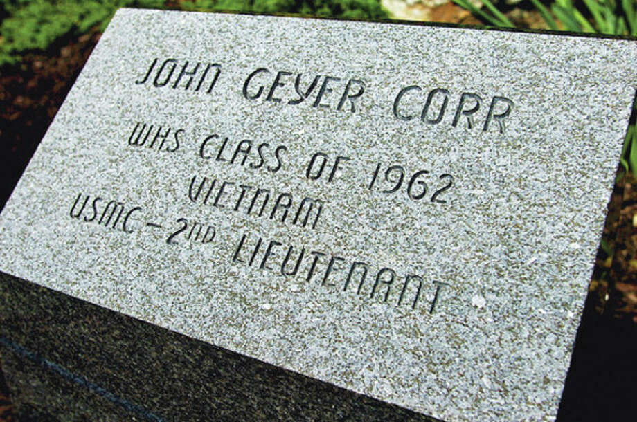The John Corr marker at the Memorial Stadium Garden at Wilton High School. The late Lt. John Corr, former Wilton High School athlete (Class of '62), who lost his life in Viet Nam in 1967 is still remembered and honored every year with the John Corr Award given to a Wilton senior athlete.Hour photo / Erik Trautmann / (C)2012, The Hour Newspapers, all rights reserved