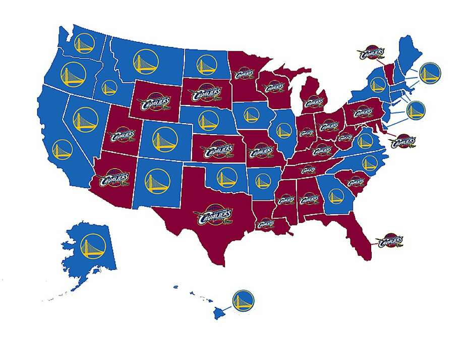 An online survey of 10,000 basketball fans — 200 in every state — clearly shows a divide between Warriors and Cavaliers fans. Photo: Sportsbettingexperts.com