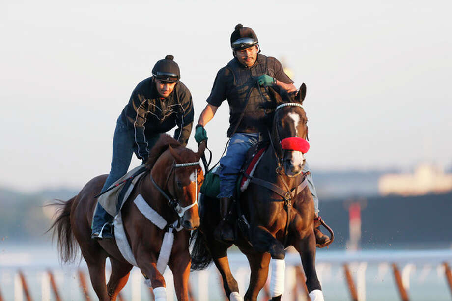 I'll Have Another, left, with exercise rider Jonny Garcia, accompanied by stablemate Lava Man, trains at Belmont Park, Friday, June 8, 2012 in Elmont, N.Y. The Triple Crown hopeful runs Saturday in the Belmont Stakes. (AP Photo/Mark Lennihan) / AP