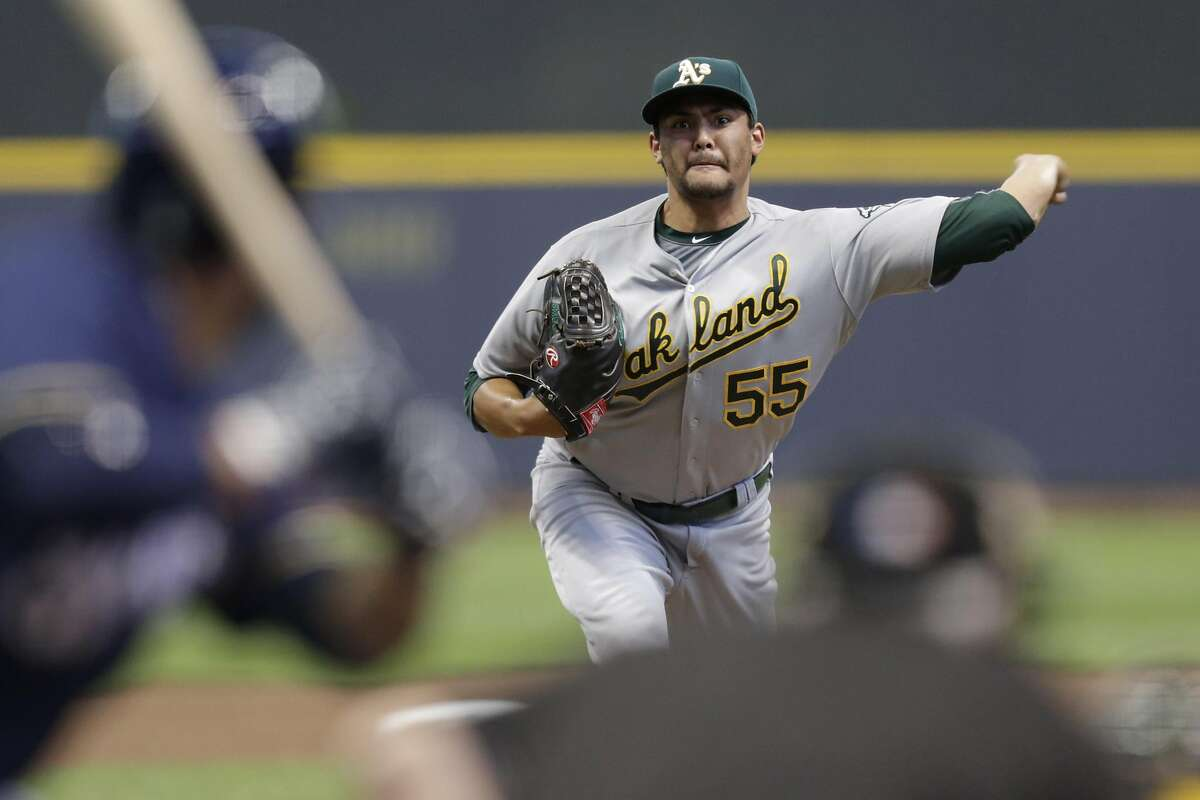 MILWAUKEE, WI - JUNE 07: Sean Manaea #55 of the Oakland Athletics pitches during the first inning of the Interleague game against the Milwaukee Brewers at Miller Park on June 07, 2016 in Milwaukee, Wisconsin. (Photo by Mike McGinnis/Getty Images)