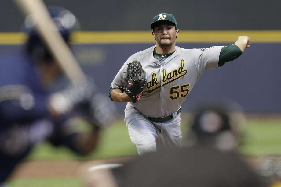 MILWAUKEE, WI - JUNE 07: Sean Manaea #55 of the Oakland Athletics pitches during the first inning of the Interleague game against the Milwaukee Brewers at Miller Park on June 07, 2016 in Milwaukee, Wisconsin. (Photo by Mike McGinnis/Getty Images) Photo: Mike McGinnis, Getty Images