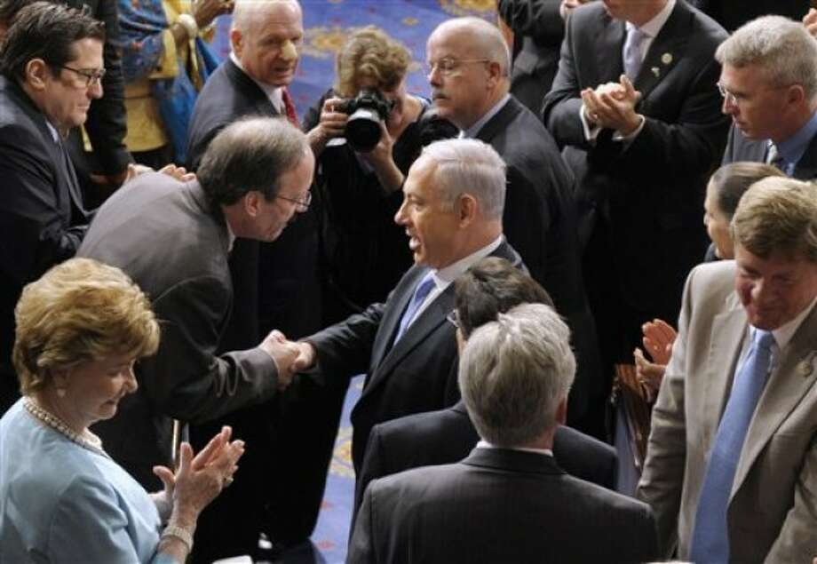 Israel''s Prime Minister Benjamin Netanyahu shakes hands with Rep. Eliot Engel, D-N.Y., on Capitol Hill in Washington, Tuesday, May 24, 2011, prior to addressing a joint meeting of Congress. (AP Photo/Susan Walsh)