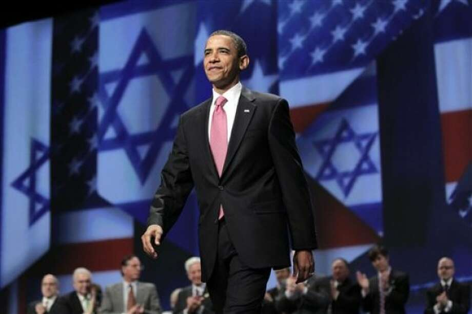 President Barack Obama arrives to speak at the American Israel Public Affairs Committee (AIPAC) convention in Washington, Sunday, May 22, 2011. Obama said the bonds between the U.S. and Israel are unbreakable. (AP Photo/J. Scott Applewhite)