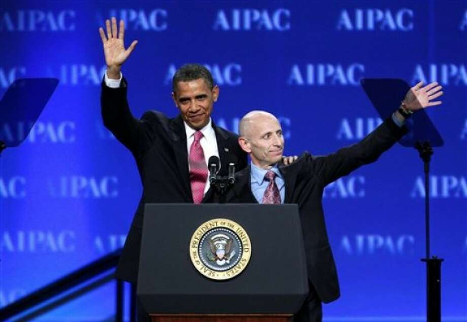 President Barack Obama and AIPAC President Lee Rosenberg wave to the crowd gathered at the American Israel Public Affairs Committee (AIPAC) convention in Washington Sunday, May 22, 2011. Obama said the bonds between the U.S. and Israel are unbreakable. (AP Photo/Jose Luis Magana)