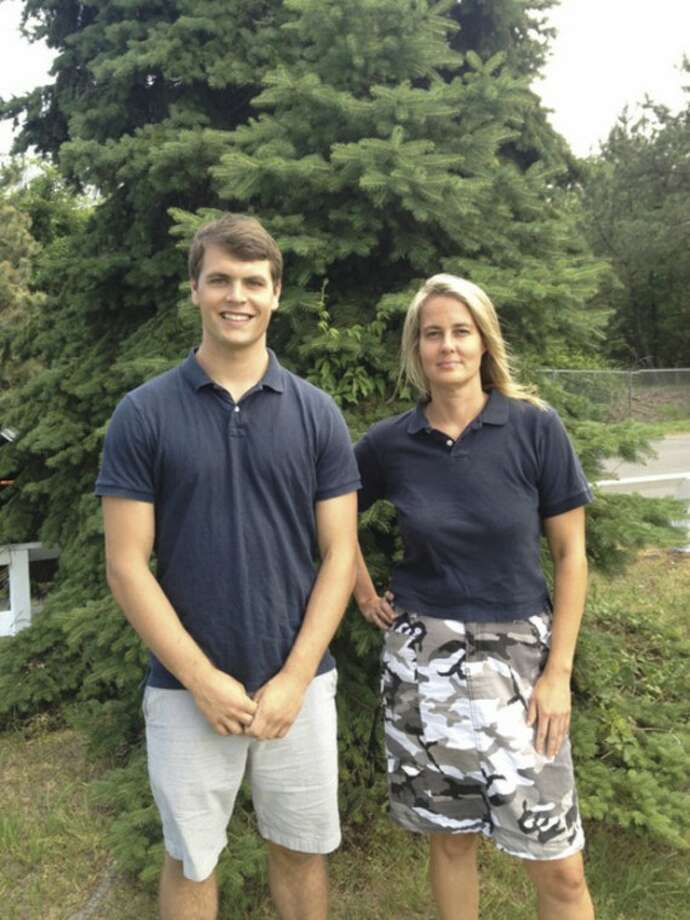 Contributed photo.Chris Coyne, former Staples High football player and current Yale University student; and Katherine Snedaker of SportsCAPP (Sports Concussion Awareness and Prevention Program). She is hosting an event on Thursday at Saugatuck Elementary School on concussion awareness.