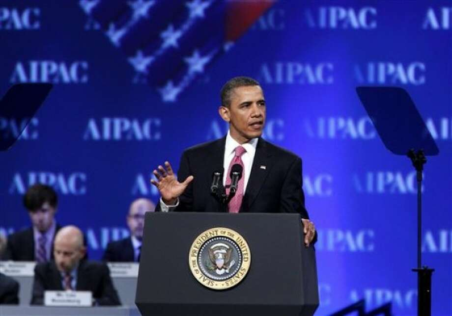 President Barack Obama speaks at the American Israel Public Affairs Committee (AIPAC) convention in Washington Sunday, May 22, 2011. Obama said the bonds between the U.S. and Israel are unbreakable. (AP Photo/Jose Luis Magana)