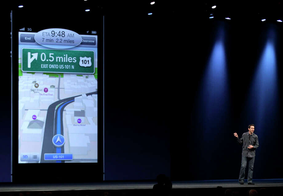 Scott Forstall, Apple's senior vice president of iOS Software, talks about features for the new iOS 6 software, including a new maps program, during the Apple Developers Conference in San Francisco, Monday, June 11, 2012. New iPhone and Mac software and updated Mac computers were among the highlights Monday at Apple Inc.'s annual conference for software developers. (AP Photo/Marcio Jose Sanchez) / AP