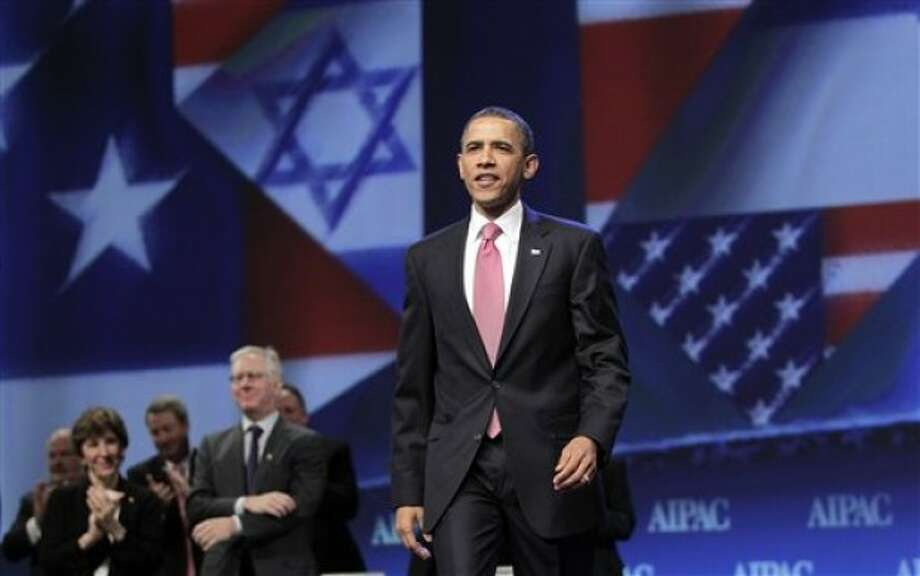President Barack Obama arrives to speak at the American Israel Public Affairs Committee (AIPAC) convention in Washington, Sunday, May 22, 2011. After a contentious couple of days this week when he clashed publicly with Israeli Prime Minister Benjamin Netanyahu over ideas for a permanent Palestinian state, Obama is focusing on the deep U.S.-Israeli friendship and alliance. (AP Photo/J. Scott Applewhite)