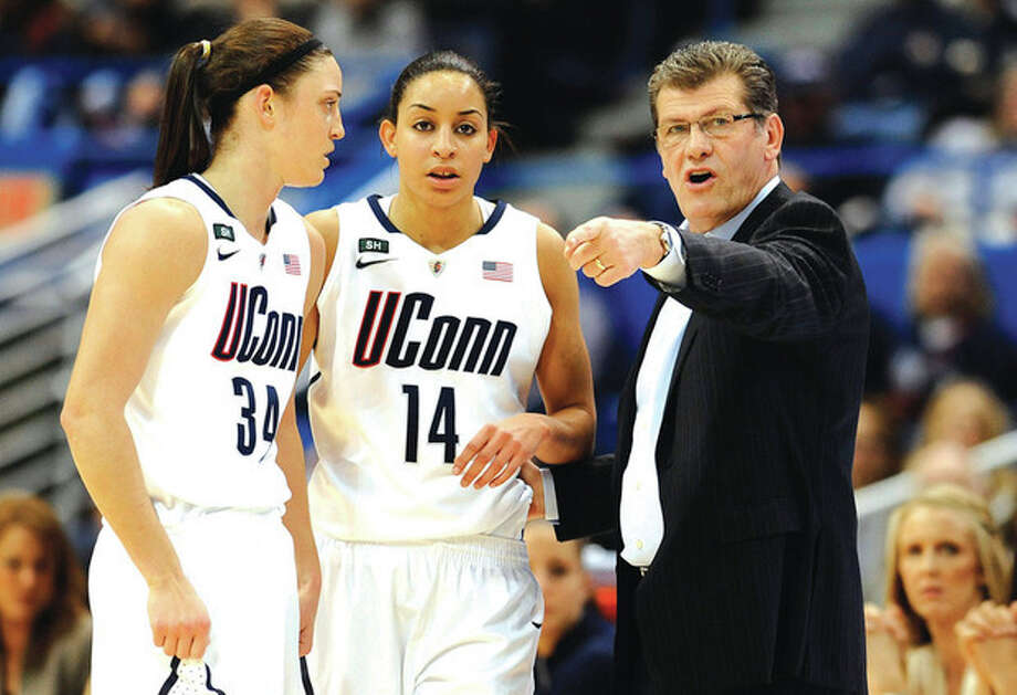 AP photoConnecticut head coach Geno Auriemma, right, talks with Kelly Faris (34) and Bria Hartley during a game earlier this month. The Huskies will begin their quest for another national championship as the No. 1 seed in the Bridgeport regional. They will open tournament play Saturday at Gampel Pavilion against No. 16 Idaho. Top-ranked and defending national champion Baylor, Notre Dame and Stanford are the other No. 1 seeds. / FR125654 AP