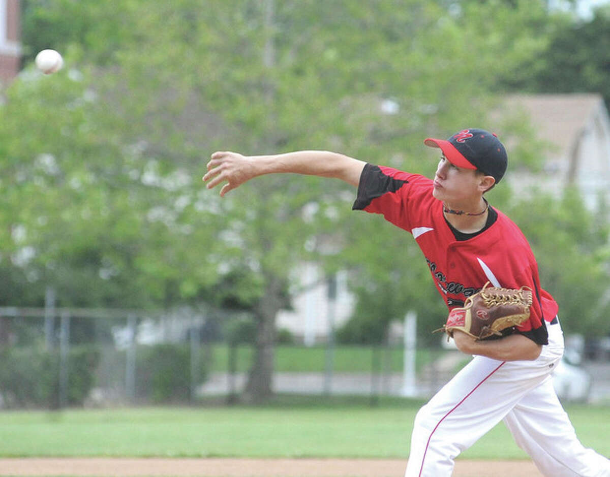 Hour photo/Matthew Vinci Norwalk Junior Legion starting pitcher Andrew Seiden delivers a pitch during Monday's game against Wilton. Seiden worked into the sixth in Norwalk's 11-3 victory.