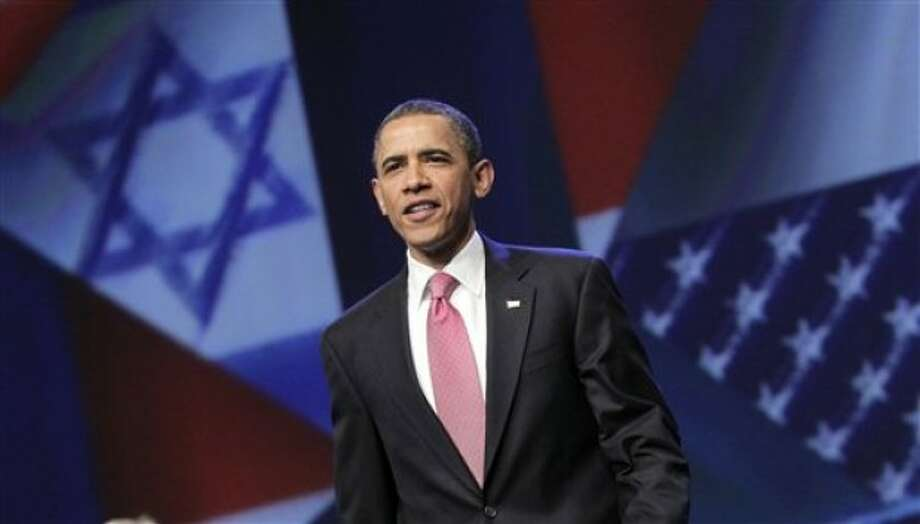 President Barack Obama arrives to speak at the American Israel Public Affairs Committee (AIPAC) convention in Washington, Sunday, May 22, 2011, after a contentious couple of days this week when he clashed publicly with Israeli Prime Minister Benjamin Netanyahu over ideas for a permanent Palestinian state. (AP Photo/J. Scott Applewhite)