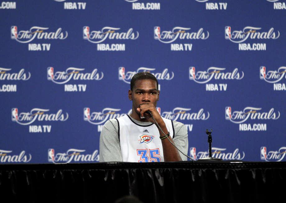 Oklahoma City Thunder forward Kevin Durant answer questions after practice, Monday, June 11, 2012, in Oklahoma City. Game 1 of NBA basketball finals between the Miami Heat and Thunder is scheduled for Tuesday. (AP Photo/Jeff Roberson) / AP