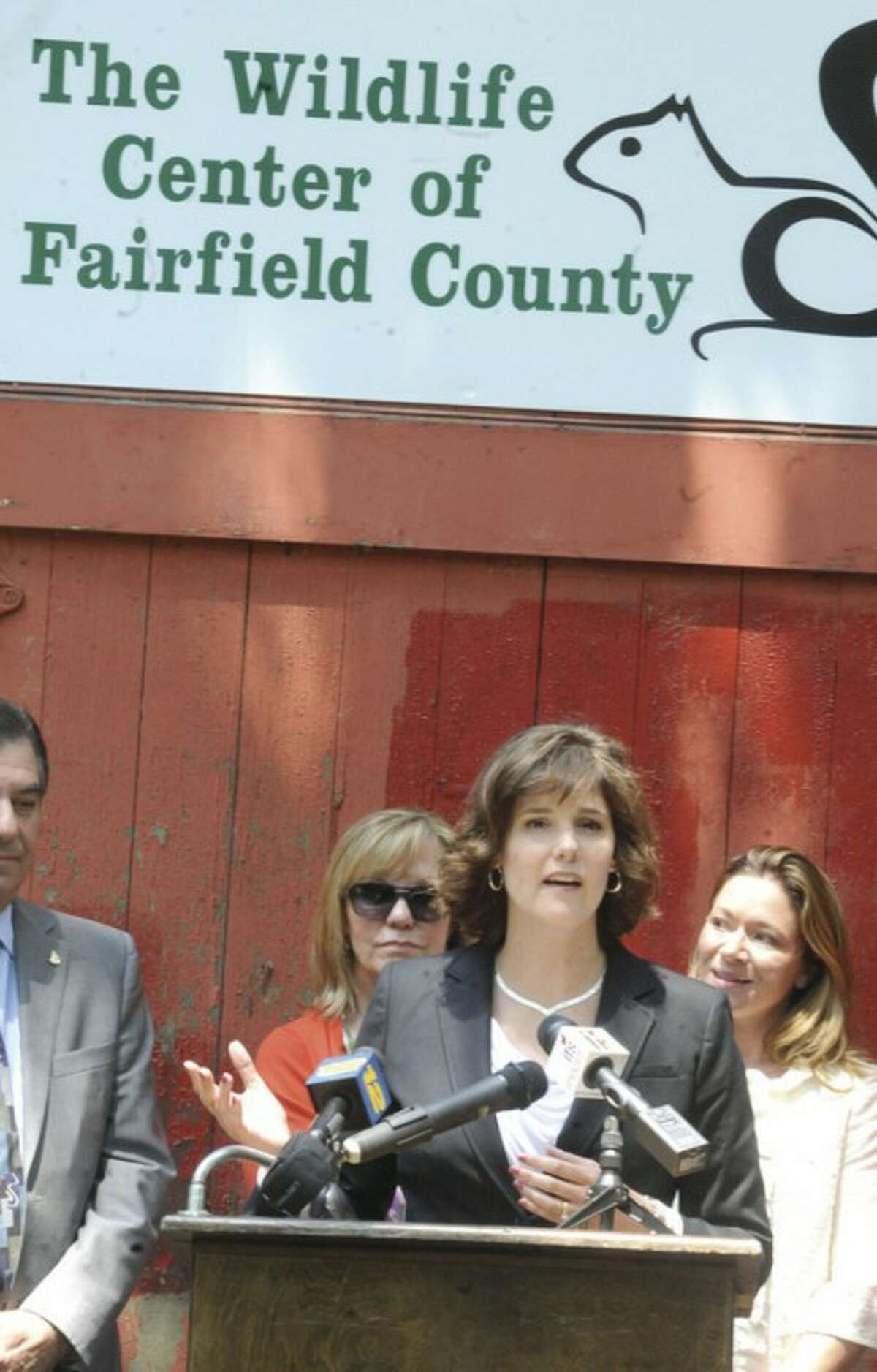 Heather Bernatchez, co-founder of the Fairfield County Wildlife Rehabilitation & Education Center speaks at a press conference at the new location in Stamford. photo/Matthew Vinci