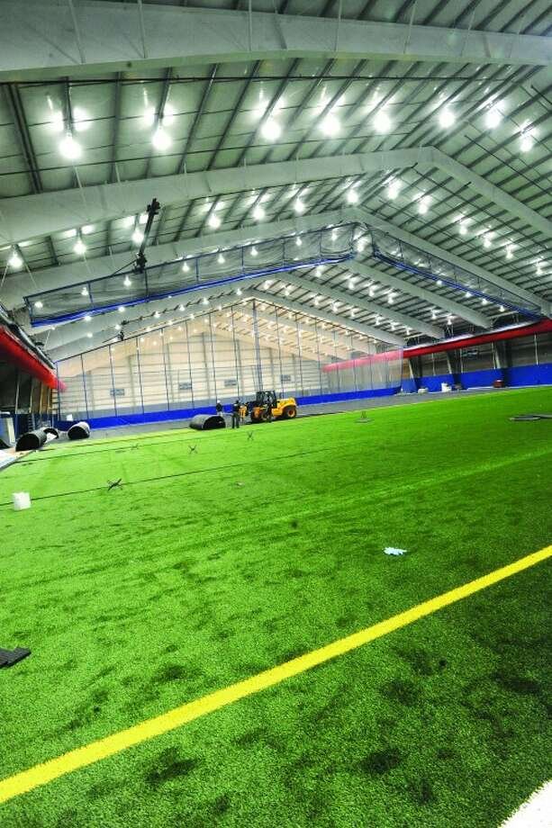 The football/soccer field at the new Chelsea Piers. hour photo/Matthew Vinci