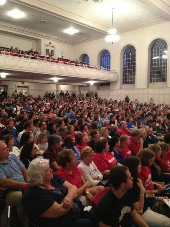 The view from the stage at Monday night's Norwalk Board of Education public hearing.