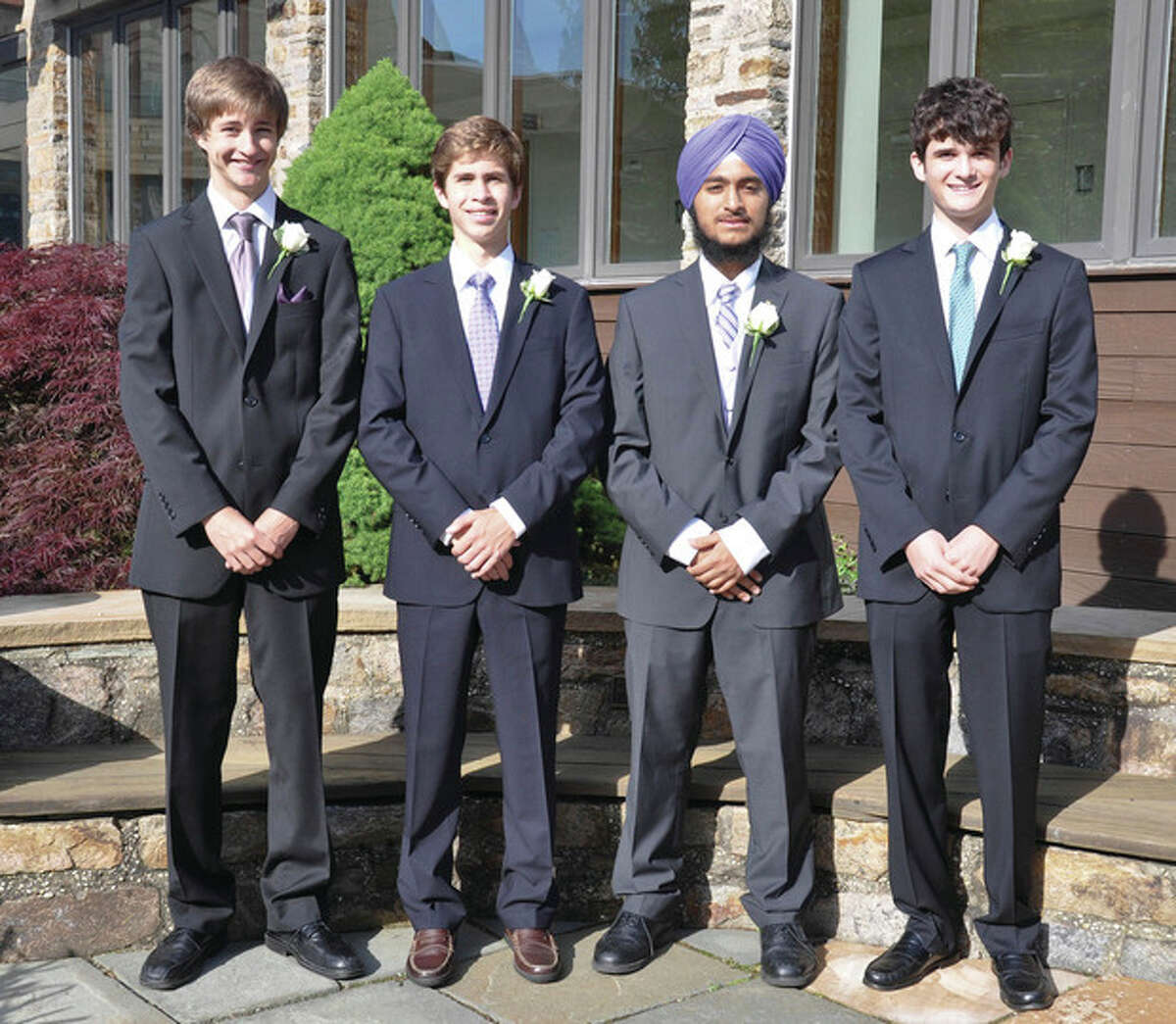 Recent Greens Farms Academy graduates from Wilton include, from left, Jon Bauerfeld, Will Picoli, Yuvi Singh and Avery Salinger. Contributed photo.