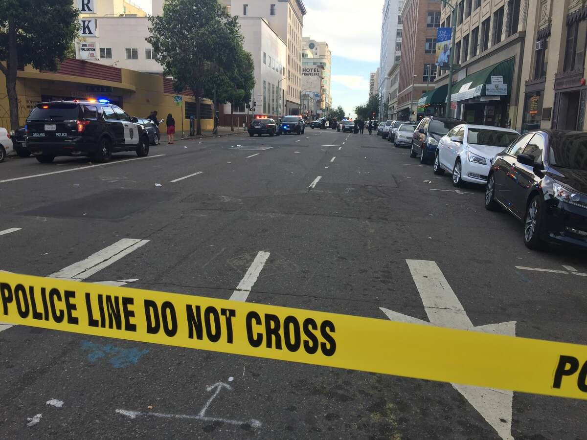 The scene near 13th and Franklin streets in Oakland following a shooting on Tuesday, June 14, 2016.