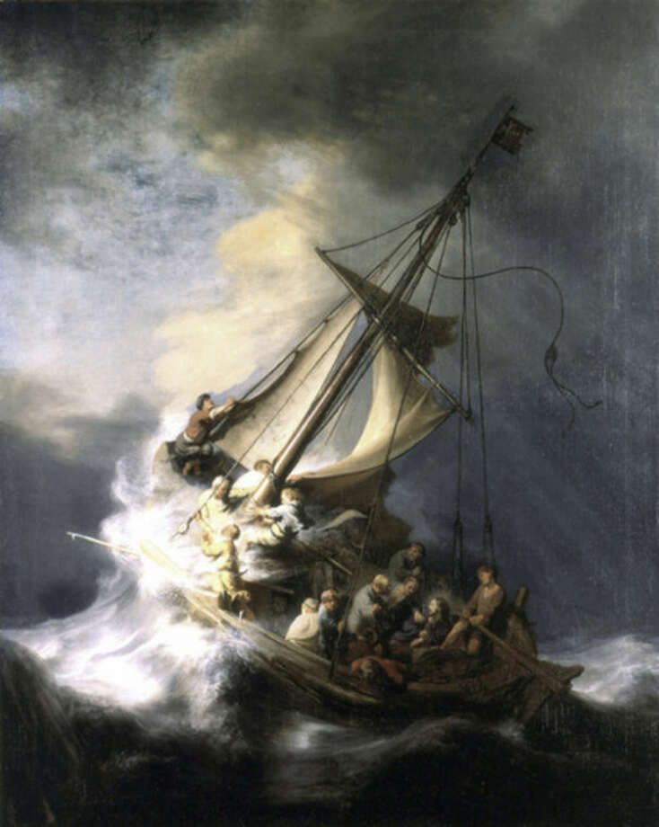"FILE - This undated file photograph released by the Isabella Stewart Gardner Museum shows the painting ""The Storm on the Sea of Galilee,"" by Rembrandt, one of more than a dozen works of art stolen by burglars in the early hours of March 18, 1990. The FBI said Monday, March 18, 2013, it believes it knows the identities of the thieves who stole the art. Richard DesLauriers, the FBI's special agent in charge in Boston, says the thieves belong to a criminal organization based in New England the mid-Atlantic states. (AP Photo/Isabella Stewart Gardner Museum, File) NO SALES"