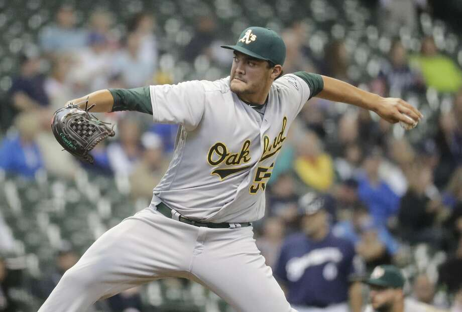 Oakland Athletics starting pitcher Sean Manaea throws during the first inning of a baseball game against the Milwaukee Brewers Tuesday, June 7, 2016, in Milwaukee. (AP Photo/Morry Gash) Photo: Morry Gash, Associated Press