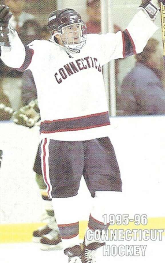 UConn file photoRyan Equale celebrates after a goal during his playing days at UConn. The former Wilton High standout is one of four people that will enter the Fairfield County Sports Hall of Fame UConn Wing Thursday.