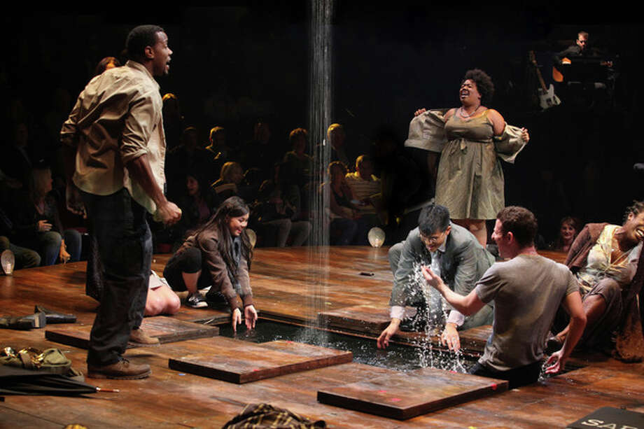 "In this theater image released by The Publicity Office, Wallace Smith, standing left, and Celisse Henderson, standing right, are shown with the company in a scene from ""Godspell,"" in New York. Producers said Wednesday, June 13, 2012, that the hip retelling of the New Testament's Gospel of Matthew will close June 24 at the Circle in the Square Theatre. (AP Photo/The Publicity Office, Jeremy Daniel) / AP2011"