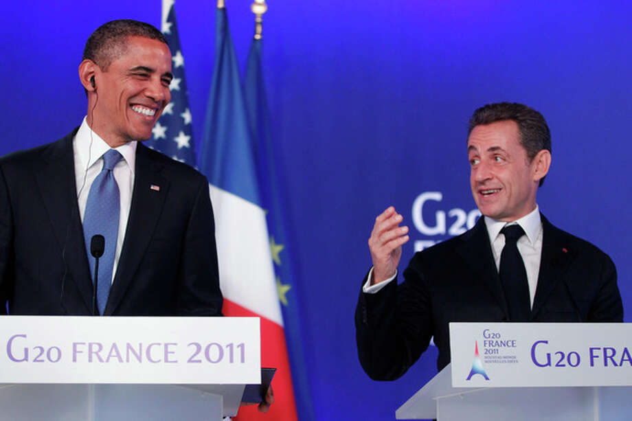 "FILE - In this Nov. 3, 2011 file photo, U.S. President Barack Obama, left, and French President Nicolas Sarkozy make statements to reporters after their meeting at G20 Summit in Cannes. French President Nicolas Sarkozy, who has labored to improve French relations with Israel, said he ""can't stand"" Israeli Prime Minister Benjamin Netanyahu and called him a liar in a conversation with President Barack Obama. (AP Photo/Charles Dharapak, File) / AP"