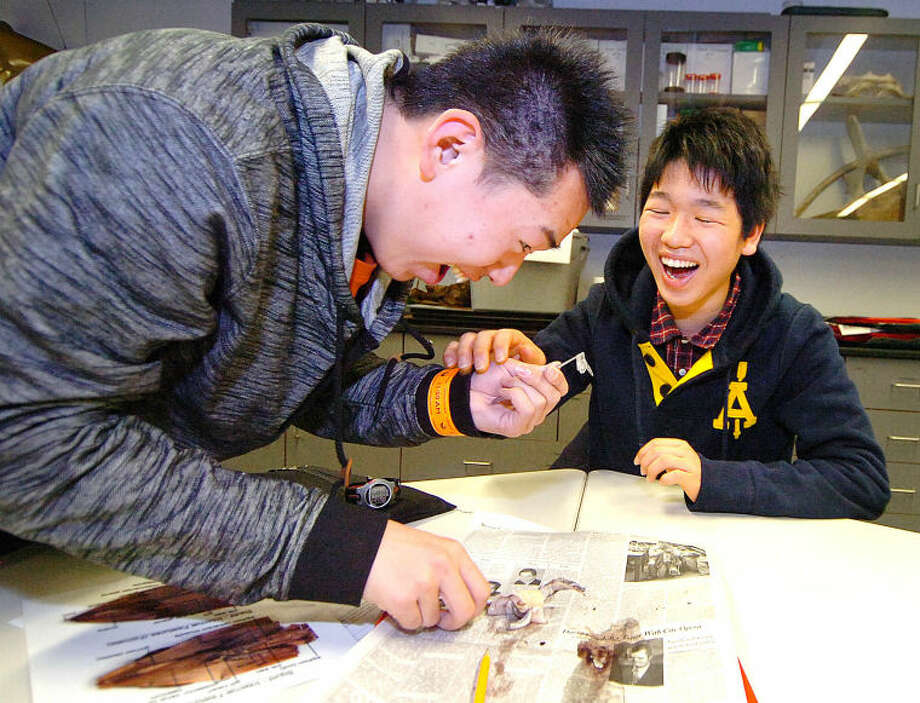 Hour Photo/Alex von Kleydorff. Japanese High School Exchange students from Kanagawa Prefecture visit the Maritime Aquarium and Seiketsu Ogawa and Keisuke Nakashima get to the inside of the squid they are dissecting.