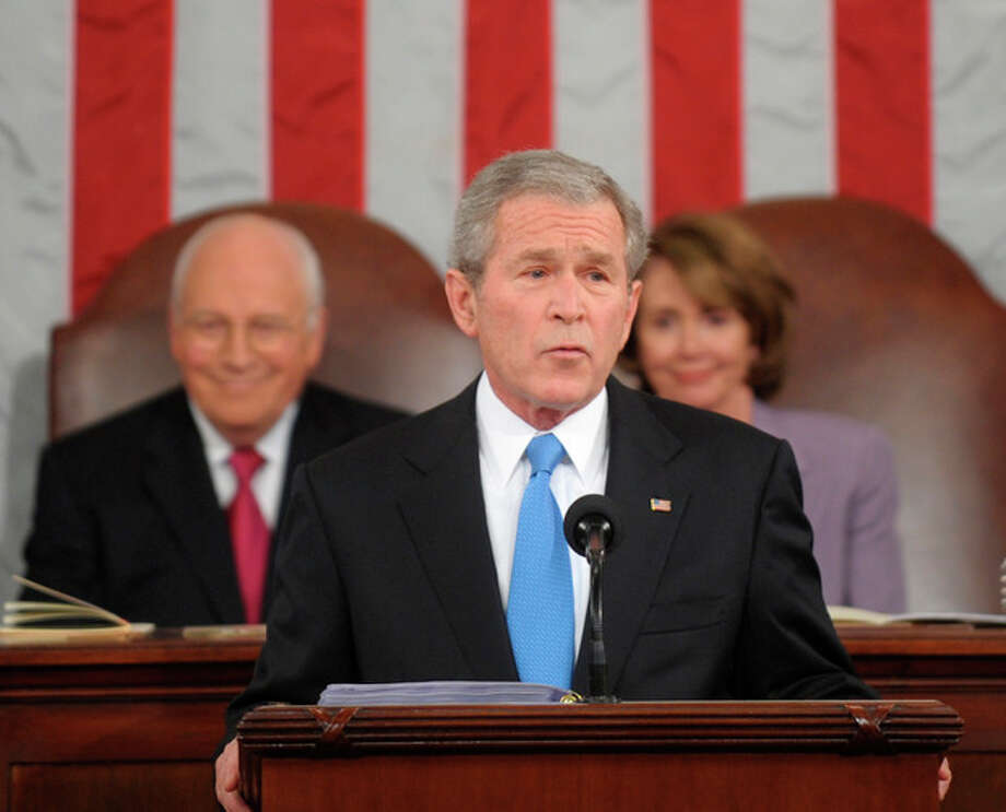 FILE - This Jan. 28, 2008 file photo shows President Bush delivering the State of the Union address on Capitol Hill in Washington. A new study shows that contrary to the idea that being president speeds up the aging process, many U.S. commanders in chief have lived longer than their peers. (AP Photo/Tim Sloan, Pool) / AP2008