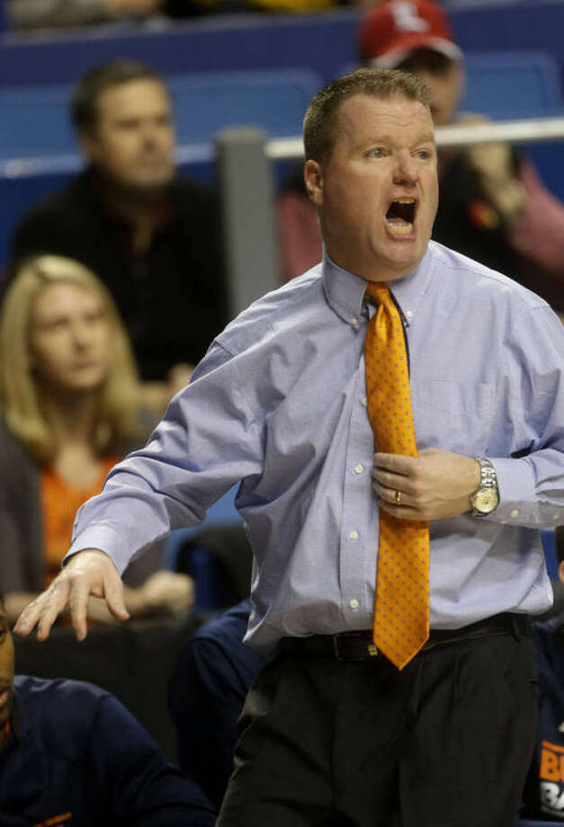 Bucknell head caoch Dave Paulsen reacts on the sidelines during the first half a second round NCAA college basketball tournament game against Butler Thursday, March 21, 2013, in Lexington, Ky. (AP Photo/John Bazemore)
