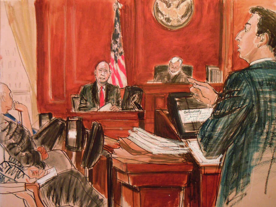 In this courtroom sketch, Judge Jed Rakoff, second from right, listens as U.S. Attorney Reed Brodsky, right, questions Goldman Sachs Chief Executive Officer Lloyd Blankfein, center, during the insider trading trial of Rajat Gupta, Monday, June 4, 2012, at federal court in New York. Gupta, on trial for a third week, is accused of passing secrets he learned from Goldman's board to a billionaire hedge fund founder who used the information to make millions of dollars. (AP Photo/Elizabeth Williams) / FRE 142054