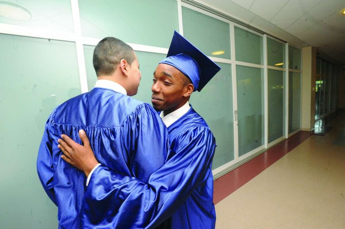 Jawan Dudley at the Briggs high school graduation on Thursday. hour photo/Matthew Vinci