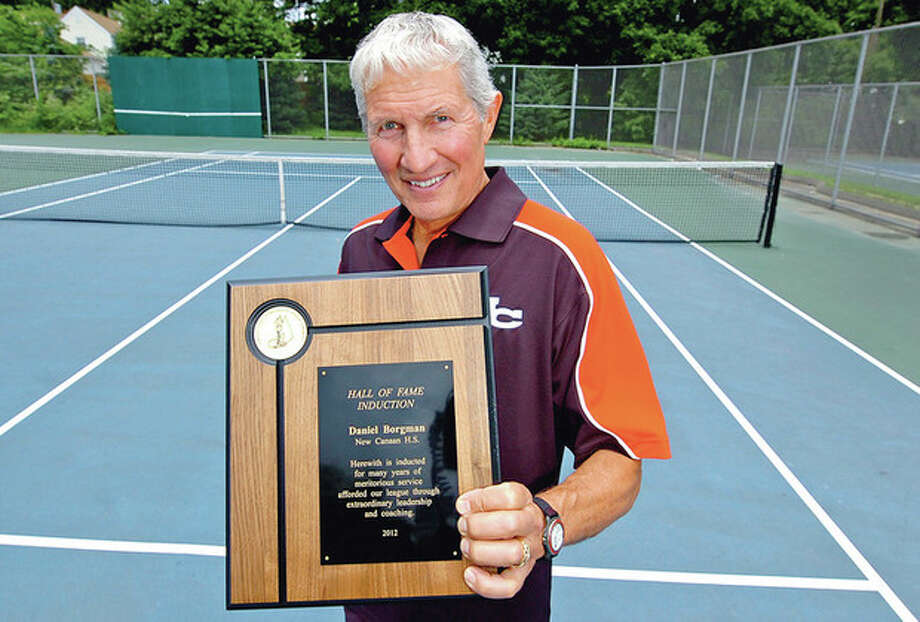 Hour photo/Erik TrautmannDan Borgman, the New Canaan High School boys tennis coach and a Norwalk resident, was just inducted into the FCIAC Hall of Fame. / (C)2012, The Hour Newspapers, all rights reserved