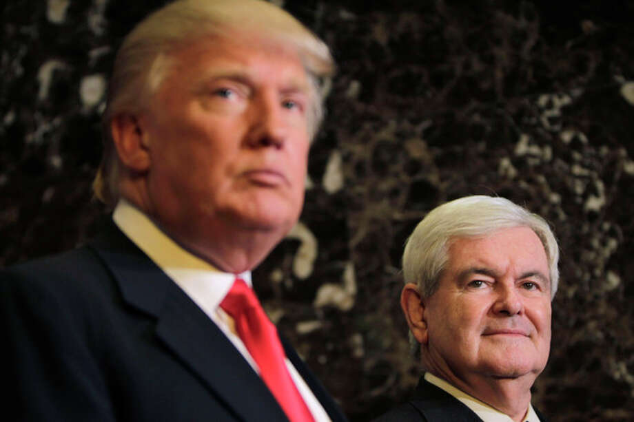 Republican presidential candidate, former House Speaker Newt Gingrich and Donald Trump talk to media after a meeting in New York, Monday, Dec. 5, 2011. (AP Photo/Seth Wenig) / AP