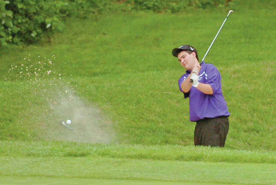 Westhill's Matt Hoffman tries to get out of a trap on the 5th hole during the Chappa Invitational Golf Tournament at Longshore Park in Westport Thursday.Hour photo / Erik Trautmann / (C)2012, The Hour Newspapers, all rights reserved