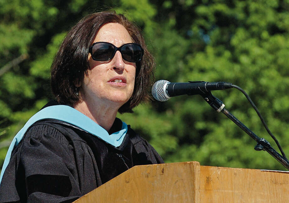 Norwalk Superintendent of Schools Susan Marks addresses the graduates during their commencement ceremonies Friday. Hour photo / Erik Trautmann / (C)2012, The Hour Newspapers, all rights reserved