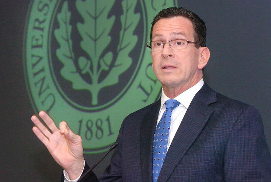 Gov. Dannel P. Malloy talks about the Next Generation Connecticut program and its benefit to UCONN during a press conference at the Stamford Campus.