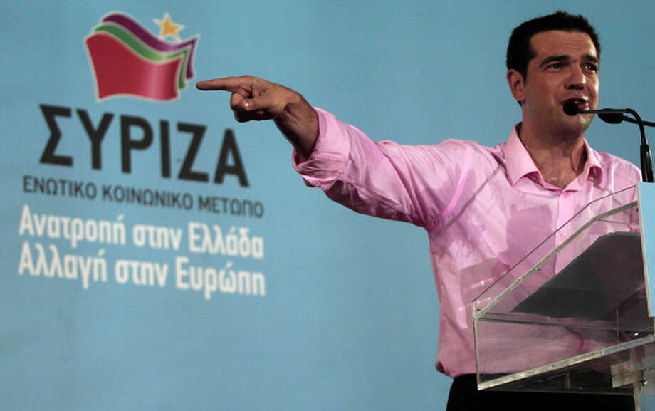 Head of Greece's radical left-wing Syriza party Alexis Tsipras speaks to his supporters during a rally at Aristotelous square in Thessaloniki, Friday, June 15, 2012. Greece faces crucial national elections on Sunday, that could ultimately determine whether the debt-saddled, recession bound country remains in the eurozone. (AP Photo/Dimitri Messinis) / AP