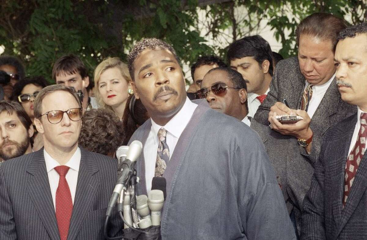 Rodney King making a statement at a Los Angeles news conference. King, the black motorist whose 1991 videotaped beating by Los Angeles police officers was the touchstone for one of the most destructive race riots in the nation's history, has died, his publicist said Sunday, June 17, 2012. He was 47.