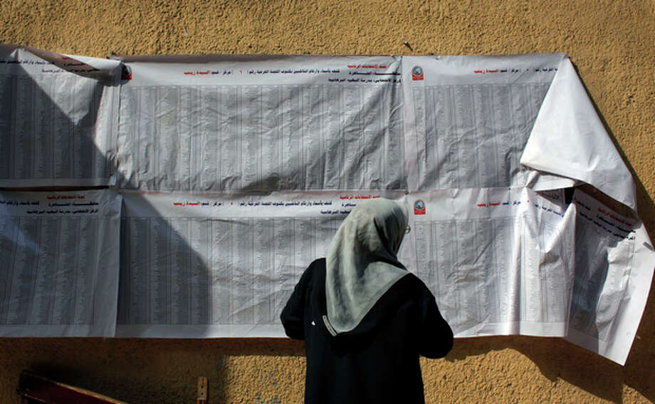 An Egyptian women checks a voting list at a polling station during the second day of the presidential election runoff in Cairo, Egypt, Sunday, June 17, 2012. Egyptians are choosing between a conservative Islamist and Hosni Mubarak's ex-prime minister in a second day of a presidential runoff that has been overshadowed by the domination of the country's military. (AP Photo/Nasser Nasser) / AP