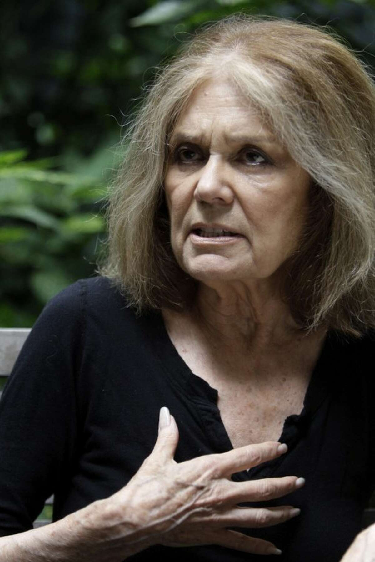 AP photo / Mary Altaffer Gloria Steinem speaks during an interview in New York. Four decades after she helped found the women's movement, the feminist icon is in a reflective mode, writing a memoir and participating in an HBO documentary on her life.