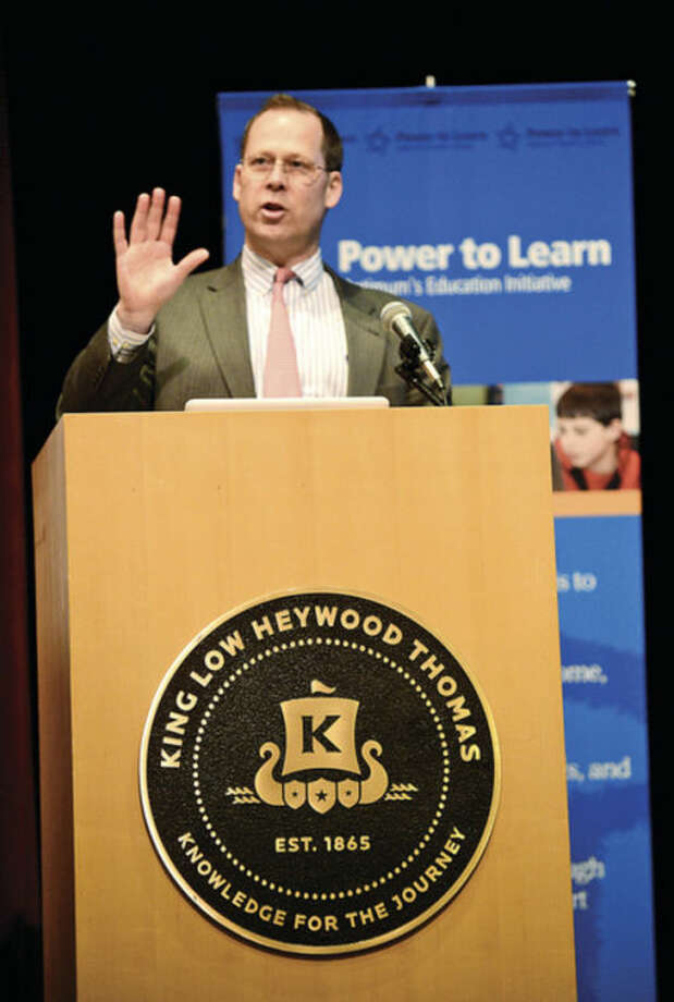 "Tom Main, Head of School at King Low Heywood Thomas School addresses the topic of ""Internet Safety"" as part of Optimum's Power to Learn Internet Smarts program Wednesday morning.Hour photo / Erik Trautmann"