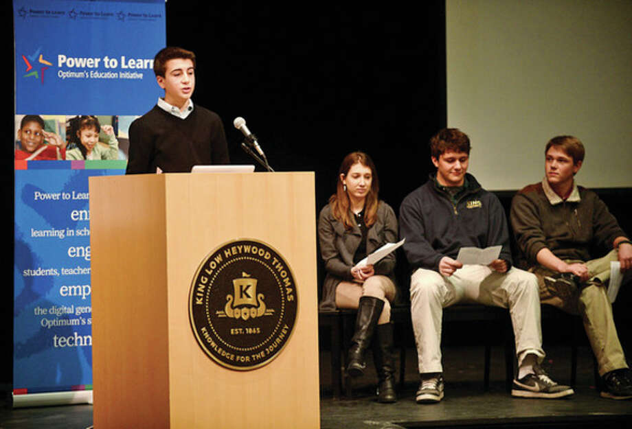 """Hour photos / Erik TrautmannAt left, students at King Low Heywood Thomas School,including Junior Thomas Catenacci, address the topic of """"Internet Safety"""" Wednesday morning. Above, Connecticut Attorney General George Jepsen speaks regarding """"10 Principles to Protect Your Privacy Online."""" / (C)2013, The Hour Newspapers, all rights reserved"""
