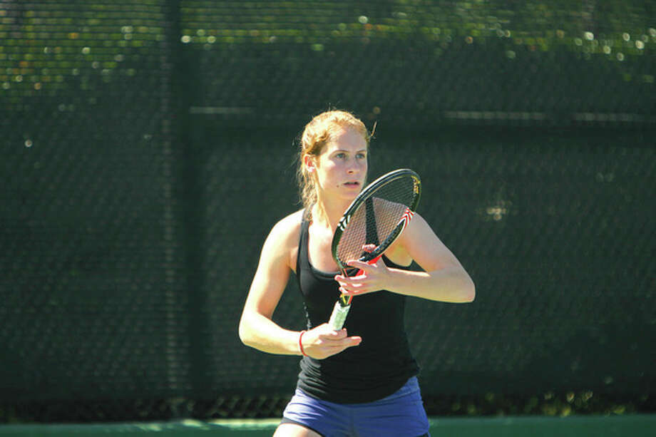 Contributed photoWeston junior Kimmy Guerin has yet to be beaten in her high school career. She has won the State Open singles championship in each of her three years of competition, and has also been named MVP of The Hour's All-Area girls tennis team for the second consecutive season.