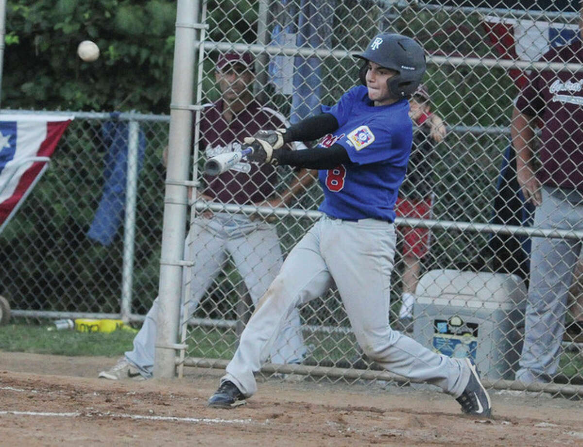 Hour Photo/Matthew Vinci Cranston?•s Travis Collins hits a two-run triple vs. Central Maine on Tuesday in the winners bracket final of the Babe Ruth 13-year-old New England tournament. Cranston hung on for a 12-11 win in nine innings to advance to the championship game.