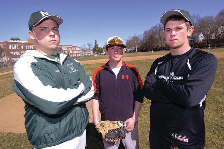 Hour Photo/Alex von KleydorffNorwalk High baseball captains, from left, Tristan Opdahl, Ricky Liscio and Nick Lampman Norwalk hope to bring leadership to a rebuilding program this spring. / 2013 The Hour Newspapers