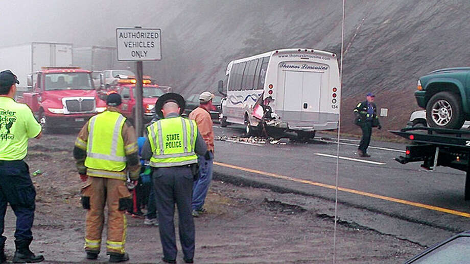 This image provided by WXII Channel 12 news, shows the scene following a 75-vehicle pileup on Interstate 77 near the Virginia-North Carolina border in Galax, Va., on Sunday, March 31, 2013. Virginia State Police say three people have been killed and more than 20 are injured and traffic is backed up about 8 miles. (AP Photo/WXII, William Bottomley) MANDAORY CREDIT: WXII,WILLIAM BOTTOMLEY / WXII