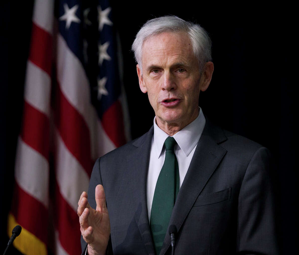 FILE - In this February 23, 2012 file photo, Secretary of Commerce John Bryson speaks about privacy at the Eisenhower Executive Office Building in Washington. Bryson says he is resigning after suffering a seizure earlier this month in the Los Angeles area. (AP Photo/Manuel Balce Ceneta)