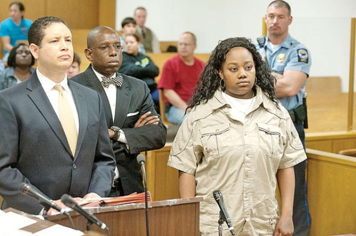 Tanya McDowell is arraigned in Norwalk Superior Court on larceny charges in Norwalk, Conn. on Wednesday April 27, 2011. McDowell allegedly used a false Norwalk address to enroll her son in Brookside Elementary School. pool photo / The Advocate