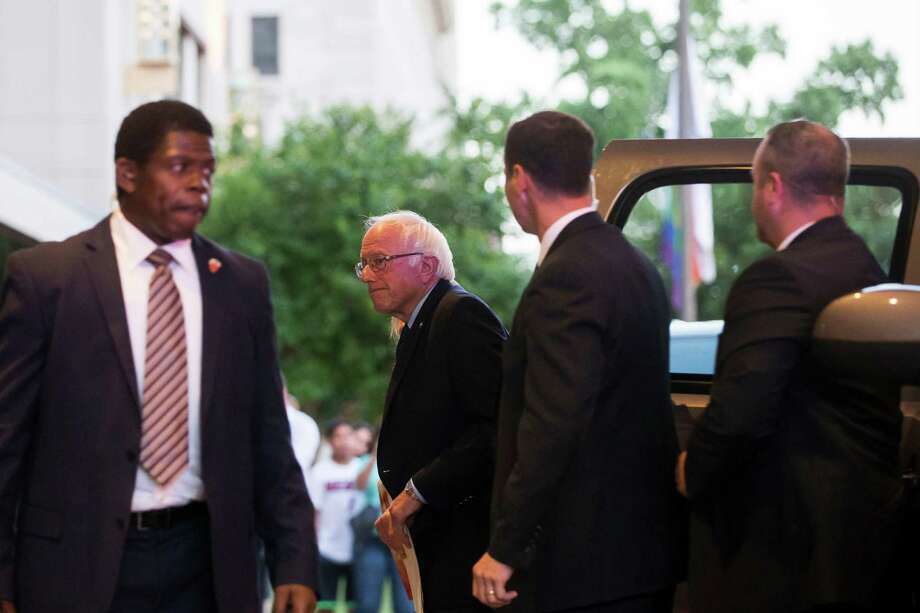 Sen. Bernie Sanders arrives for a meeting with Hillary Clinton, the presumptive Democratic presidential nominee, on Tuesday at a hotel in Washington, D.C. Photo: ZACH GIBSON, STF / NYTNS
